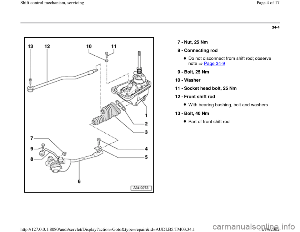 AUDI A6 2000 C5 / 2.G 01E Transmission Shift Control Mechanism Workshop Manual, Page 4