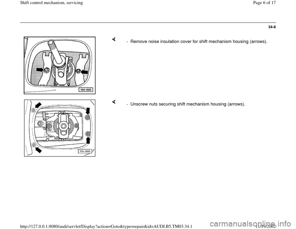 AUDI A6 2000 C5 / 2.G 01E Transmission Shift Control Mechanism Workshop Manual, Page 6