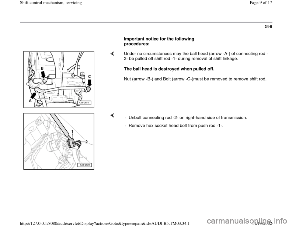 AUDI A6 2000 C5 / 2.G 01E Transmission Shift Control Mechanism Workshop Manual, Page 9