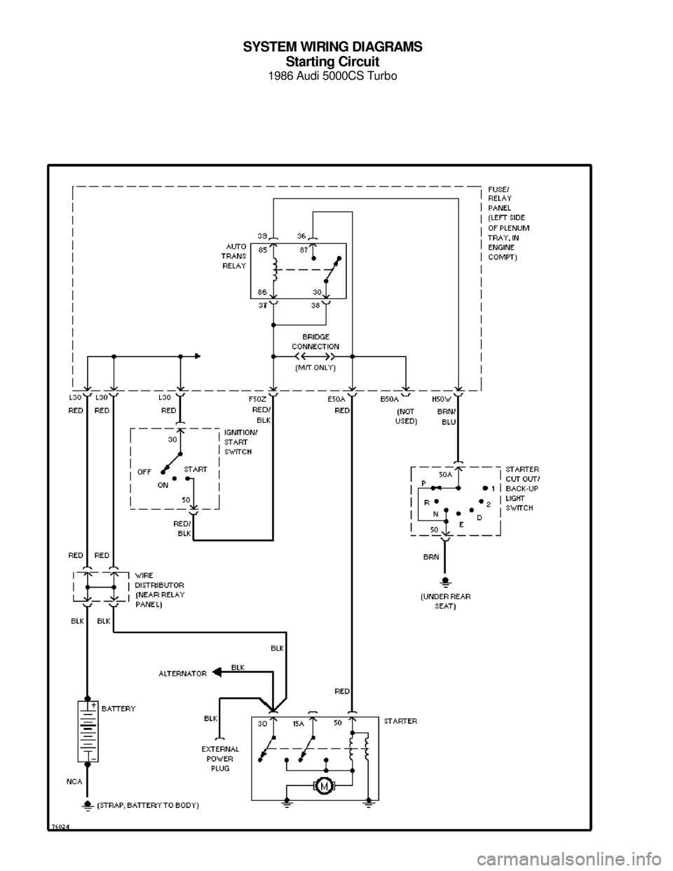 AUDI 5000CS 1986 C2 System Wiring Diagram SYSTEM WIRING DIAGRAMS Starting Circuit 1986 Audi 5000CS Turbo For x     Copyright © 1998 Mitchell Repair Information Company, LLCMonday, July 19, 2004  05:53PM