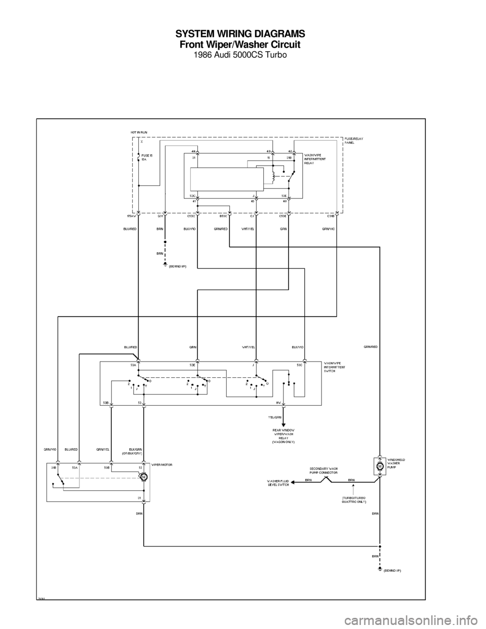 AUDI 5000CS 1986 C2 System Wiring Diagram SYSTEM WIRING DIAGRAMS Front Wiper/Washer Circuit 1986 Audi 5000CS Turbo For x     Copyright © 1998 Mitchell Repair Information Company, LLCMonday, July 19, 2004  05:53PM