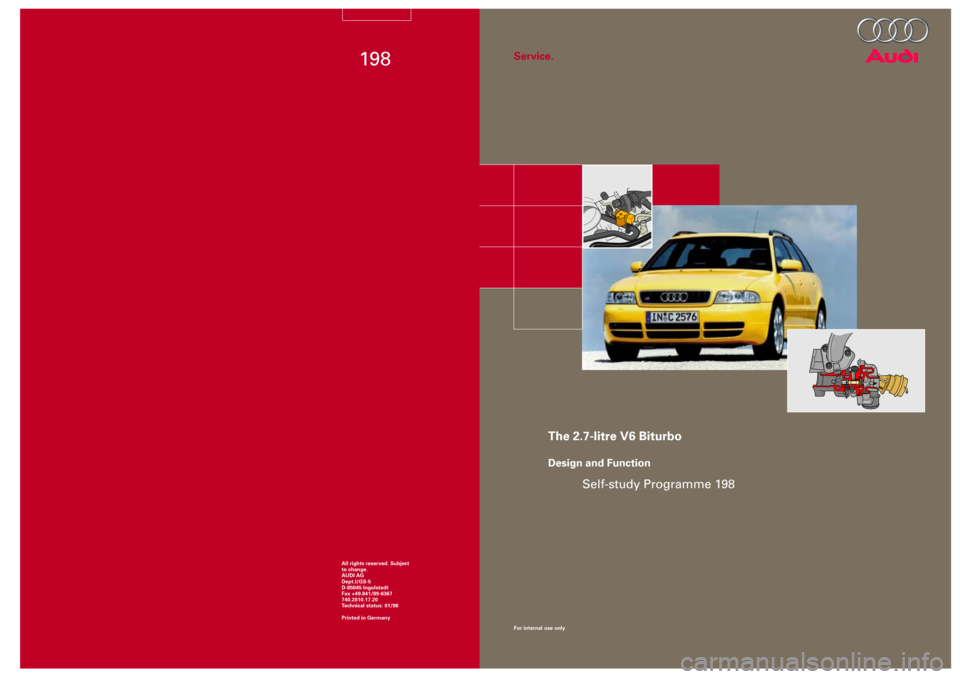 AUDI S4 1998 B5 / 1.G Engine Manual, Page 1