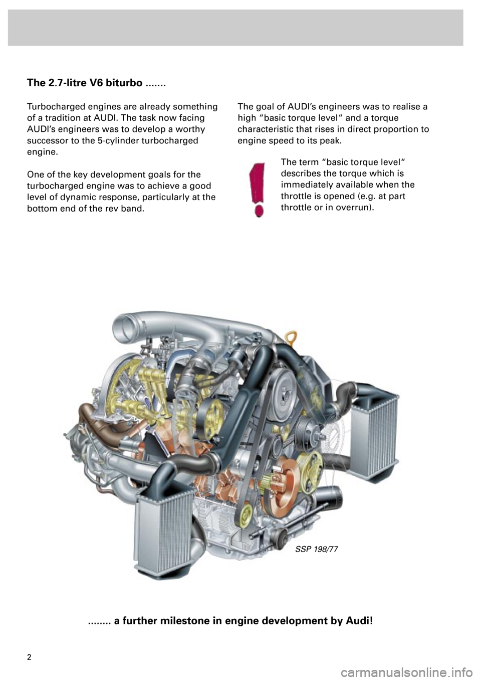 AUDI S4 1998 B5 / 1.G Engine Manual, Page 2