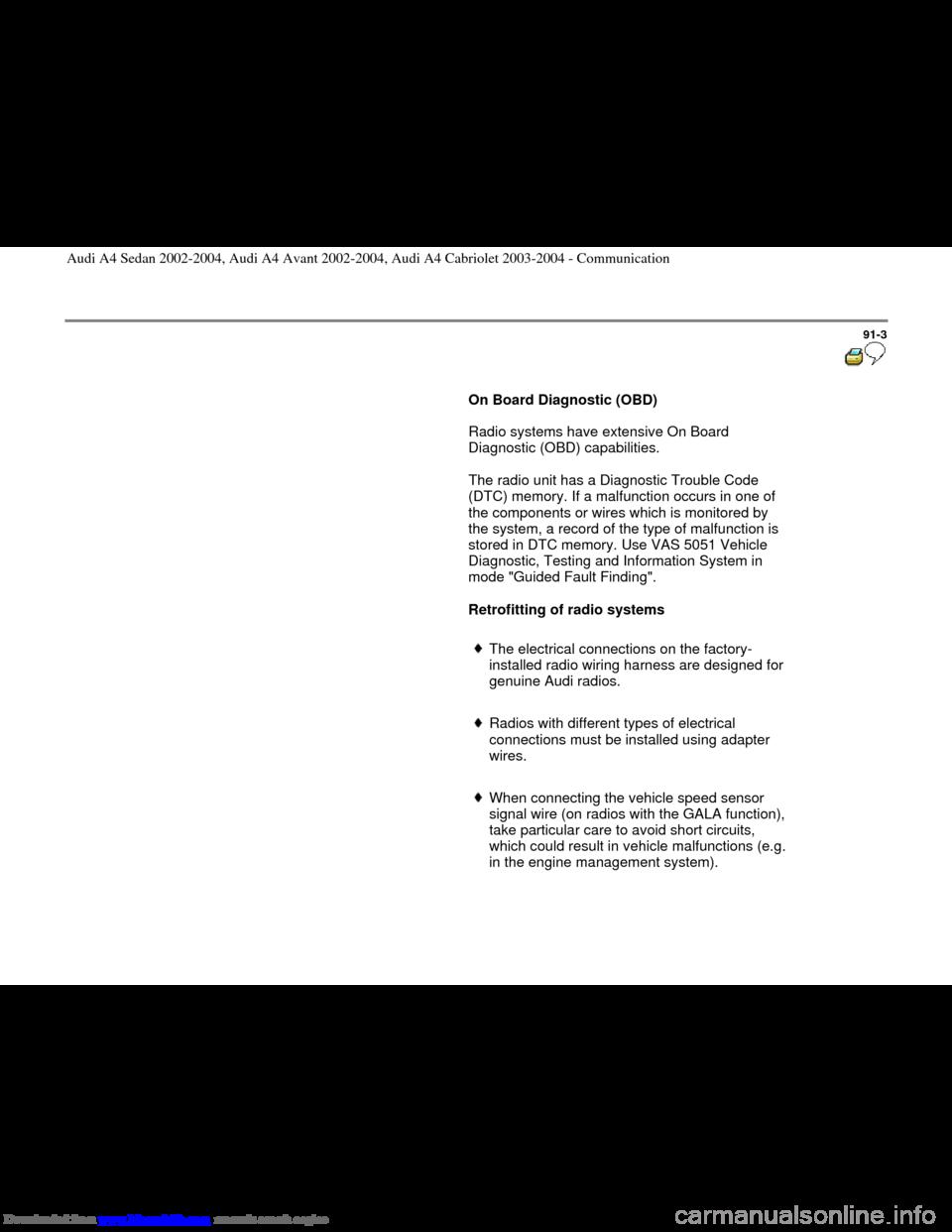 Audi A4 2002 B5 1g Radio System General Information Obd Wiring