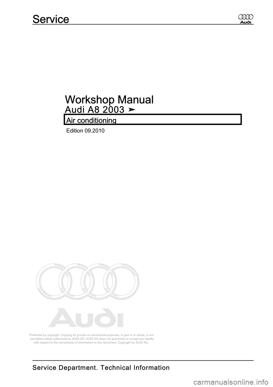 AUDI A8 2003 D3 / 2.G Air Condition Workshop Manual, Page 1