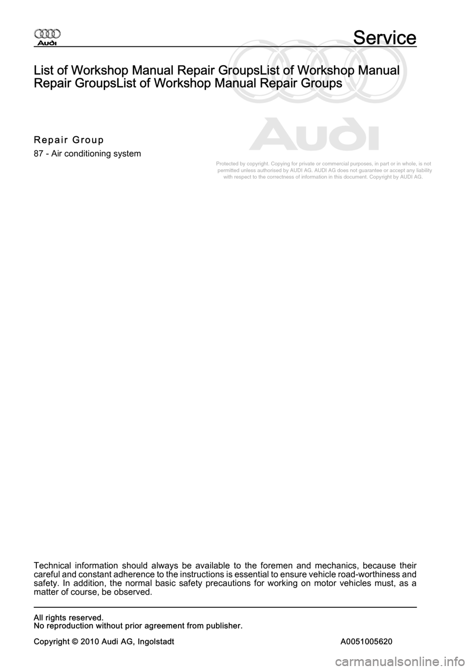AUDI A8 2003 D3 / 2.G Air Condition Workshop Manual, Page 2
