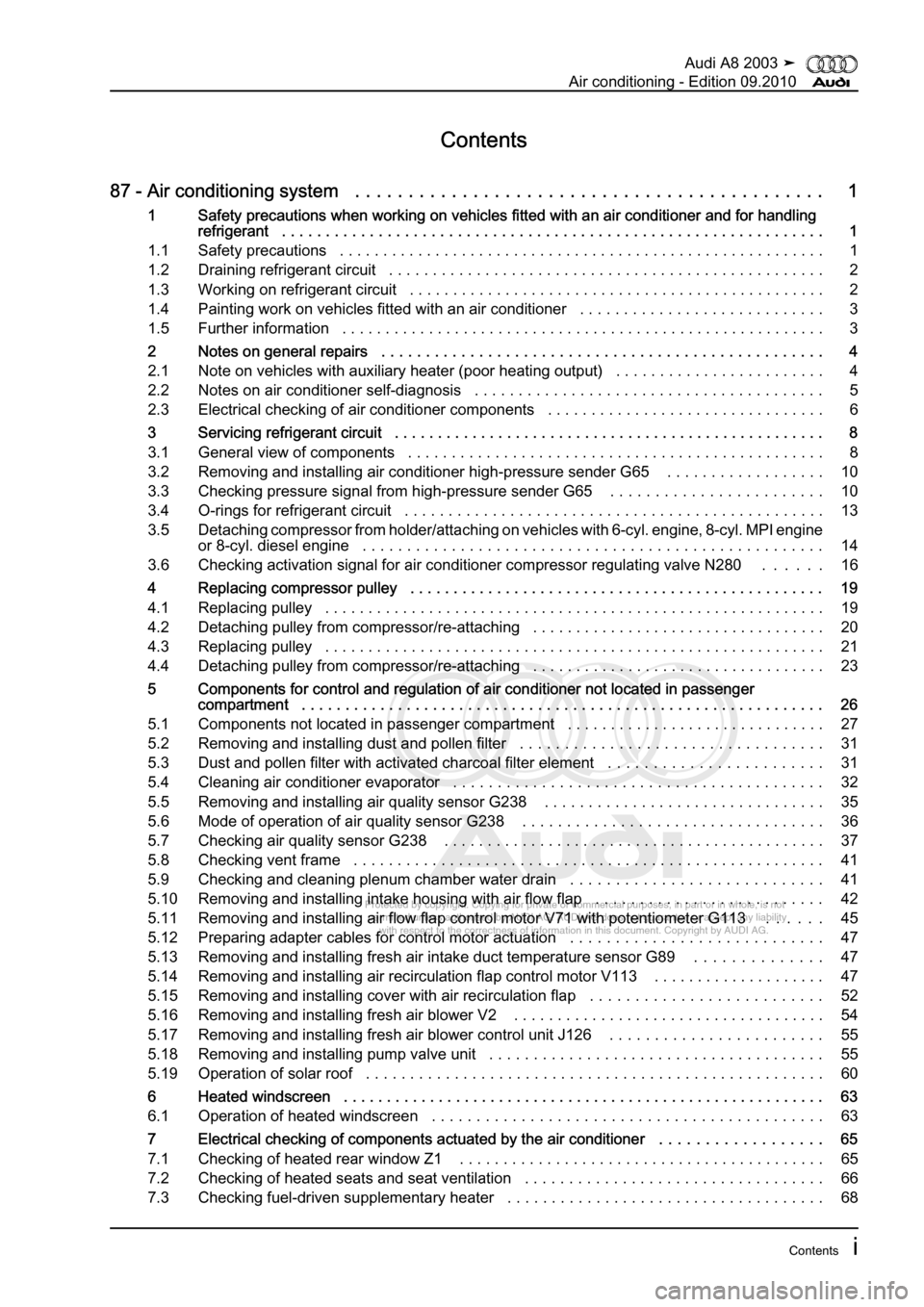 AUDI A8 2003 D3 / 2.G Air Condition Workshop Manual, Page 3