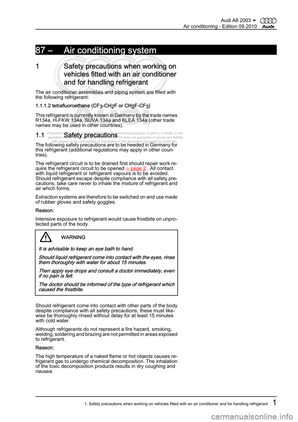 AUDI A8 2003 D3 / 2.G Air Condition Workshop Manual, Page 7