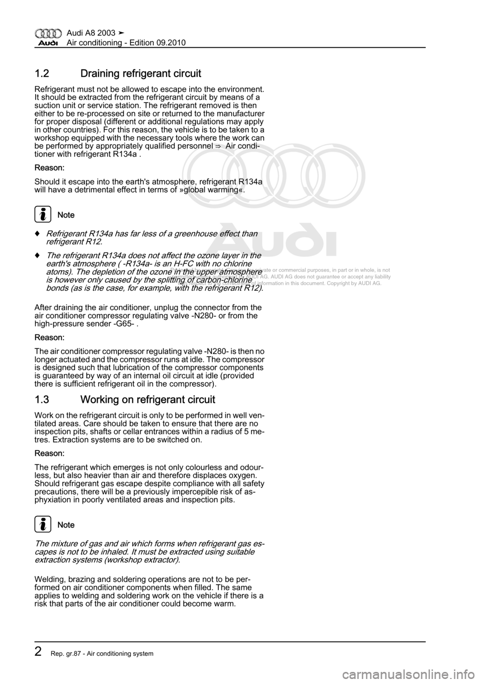 AUDI A8 2003 D3 / 2.G Air Condition Workshop Manual, Page 8