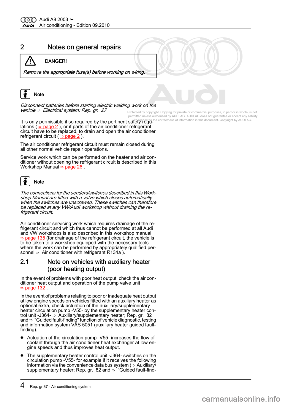 AUDI A8 2003 D3 / 2.G Air Condition Workshop Manual, Page 10
