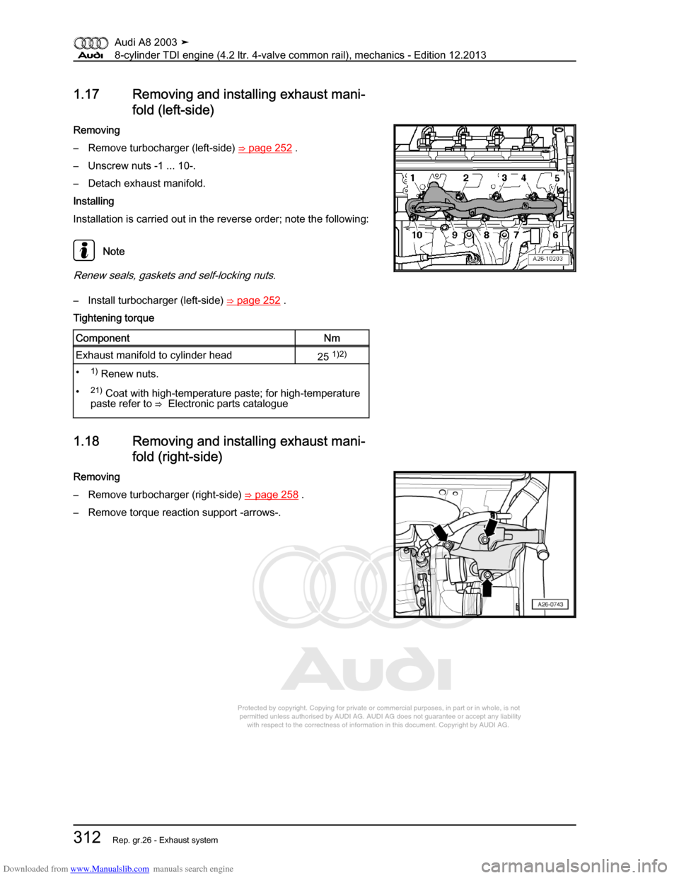 Audi A8 2003 D3 2g Bvn Bmc Engines Workshop Manual Engine Diagram Torque Head