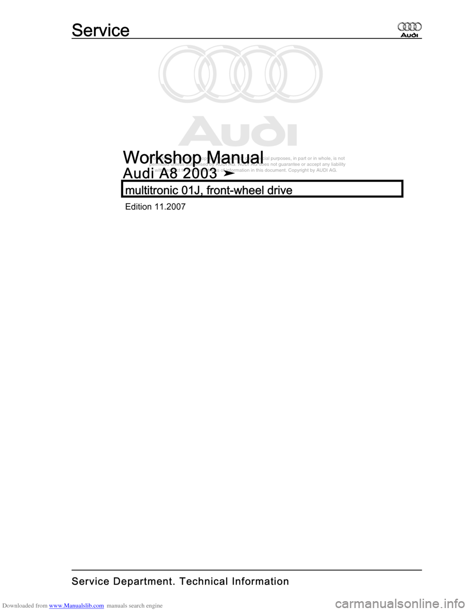 AUDI A8 2003 D3 / 2.G Multitronic System Workshop Manual, Page 1