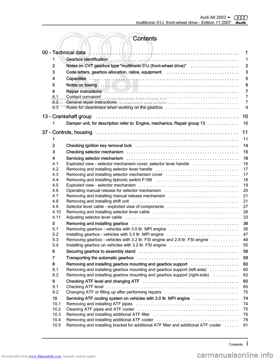 AUDI A8 2003 D3 / 2.G Multitronic System Workshop Manual, Page 3