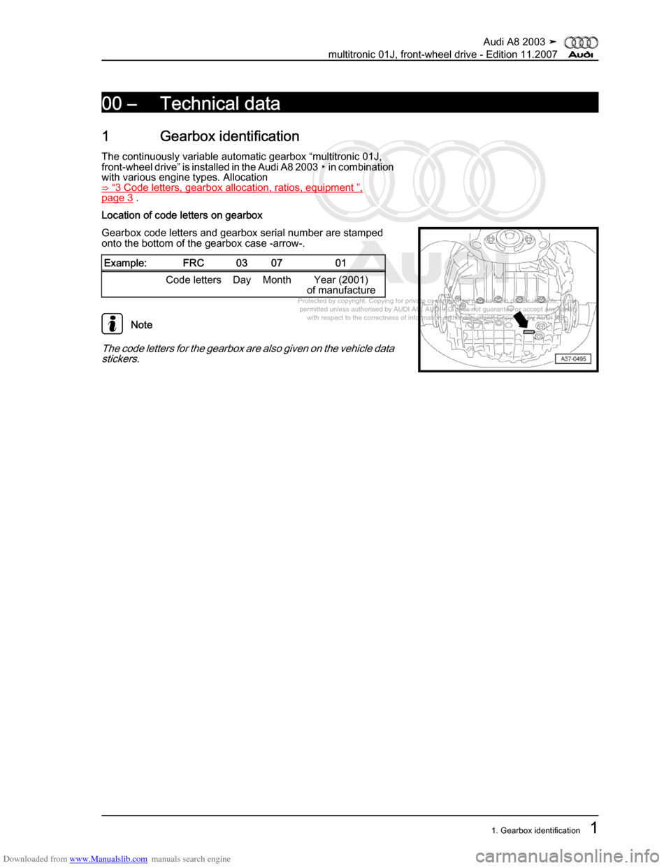 AUDI A8 2003 D3 / 2.G Multitronic System Workshop Manual, Page 5
