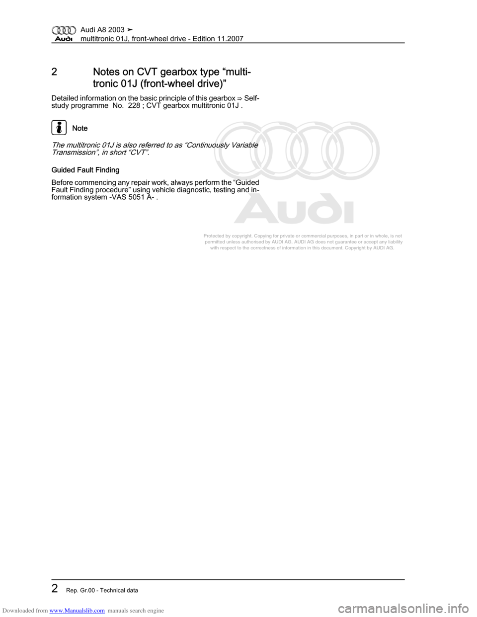 AUDI A8 2003 D3 / 2.G Multitronic System Workshop Manual, Page 6