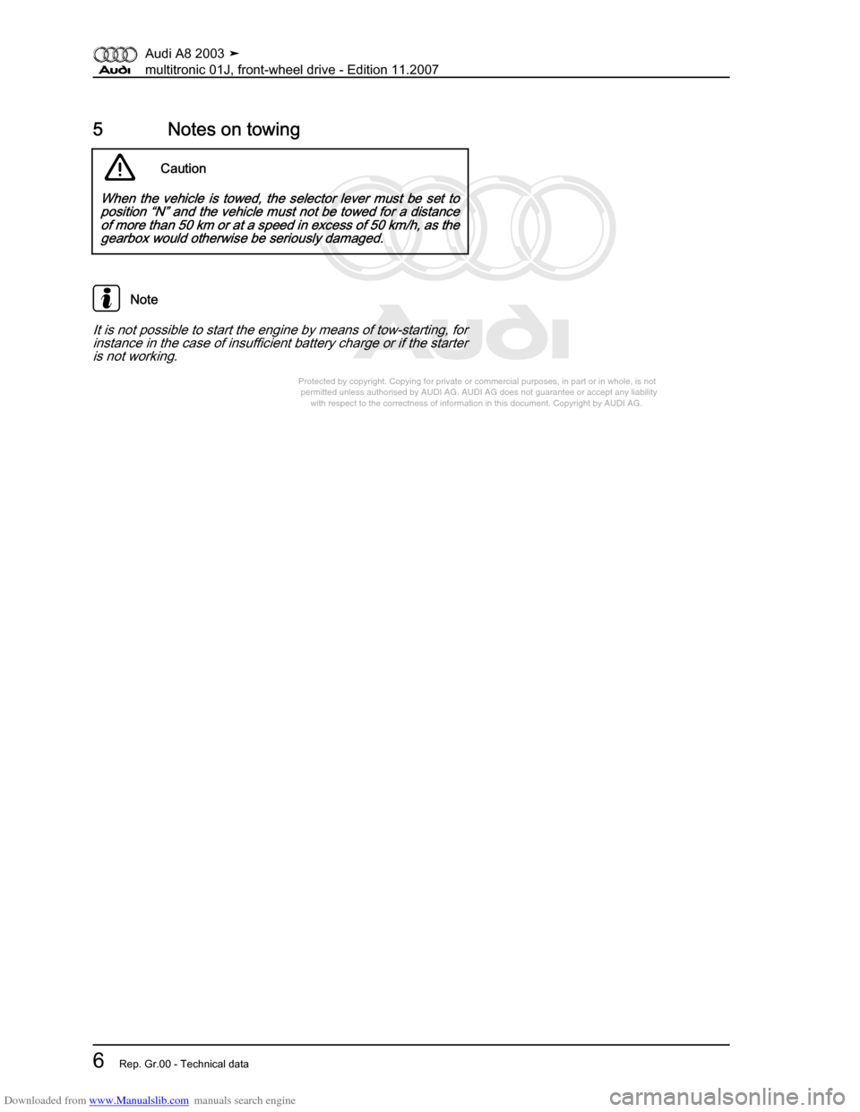 AUDI A8 2003 D3 / 2.G Multitronic System Workshop Manual, Page 10