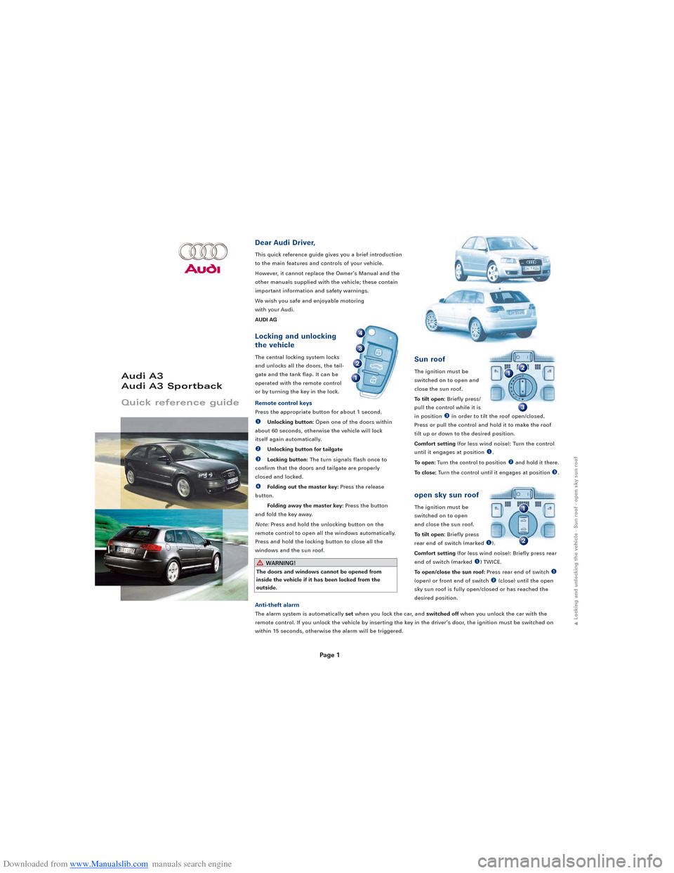 AUDI A3 2008 8P / 2.G Quick Reference Guide, Page 1