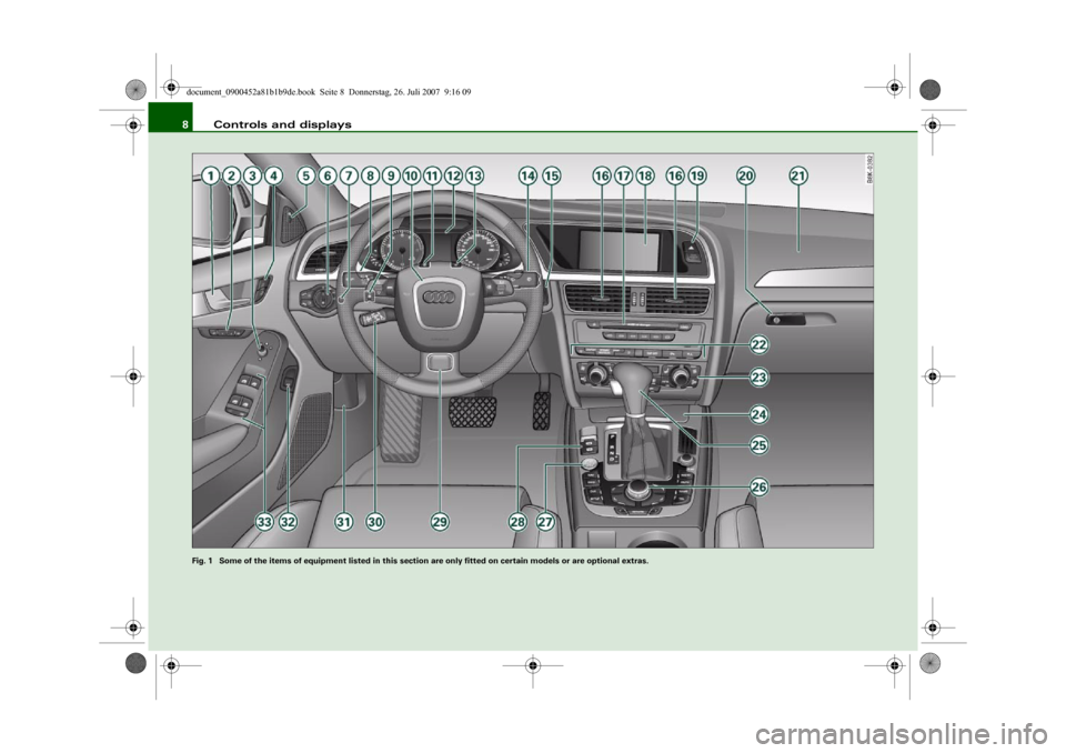 AUDI A4 2008 B8 / 4.G Owners Manual Controls and displays 8 Fig. 1  Some of the items of equipment listed in this section are only fitted on certain models or are optional extras.document_0900452a81b1b9de.book  Seite 8  Donnerstag, 26.