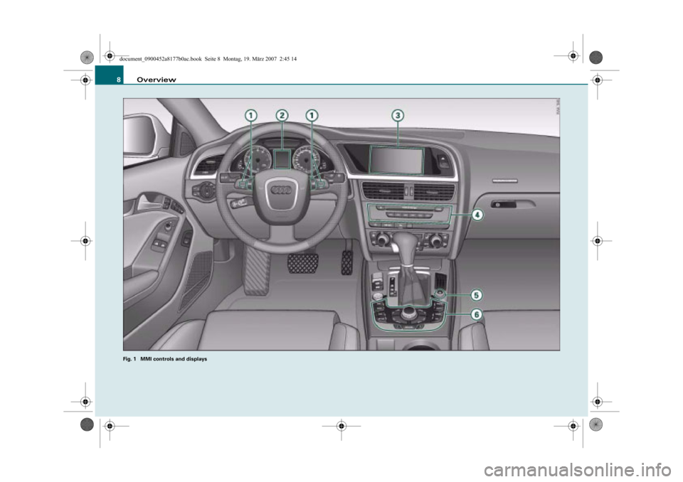 AUDI TT 2008 8J / 2.G Infotainment MMI Operating Manual Overview 8 Fig. 1  MMI controls and displays