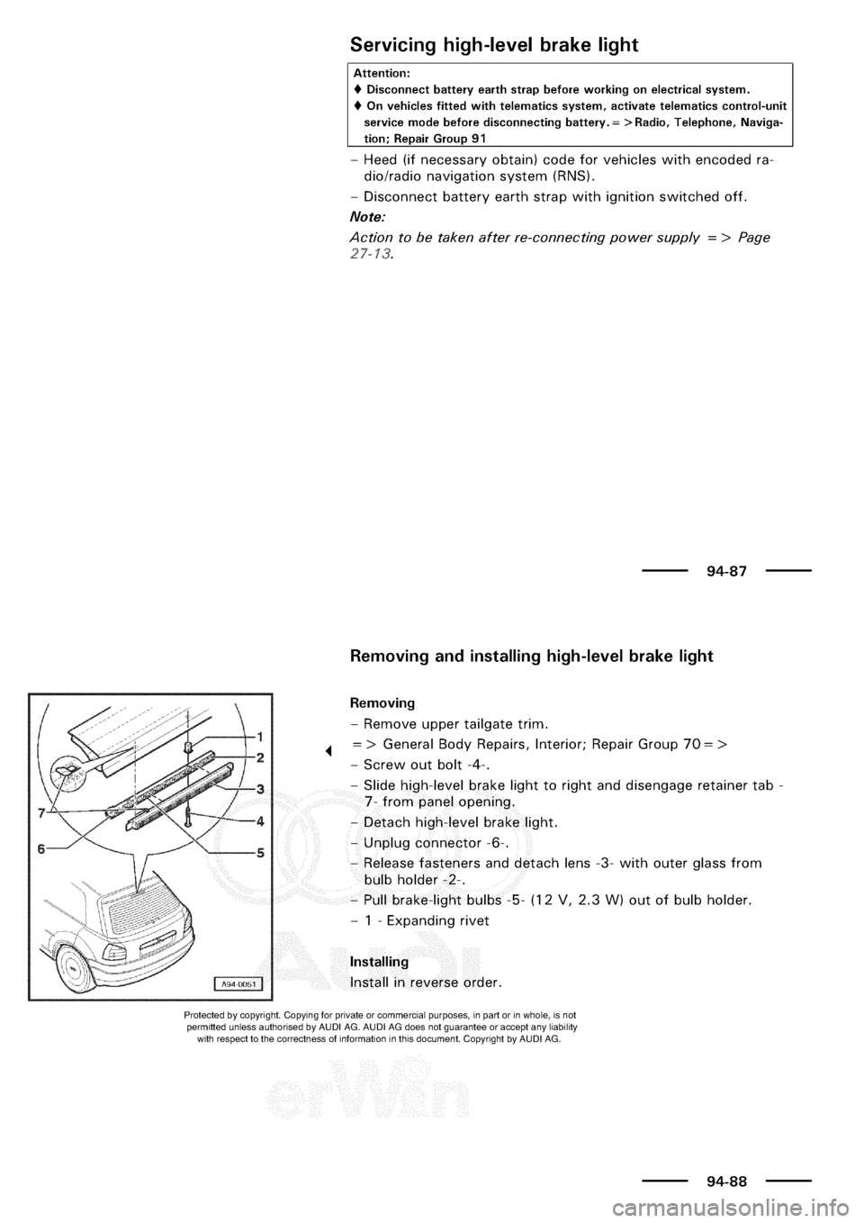 AUDI A3 2003 8L / 1.G Electrical System Workshop Manual