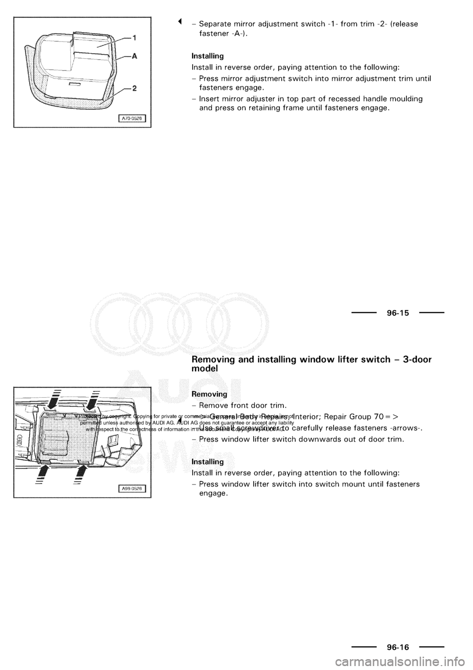 AUDI A3 2001 8L / 1.G Electrical System Workshop Manual