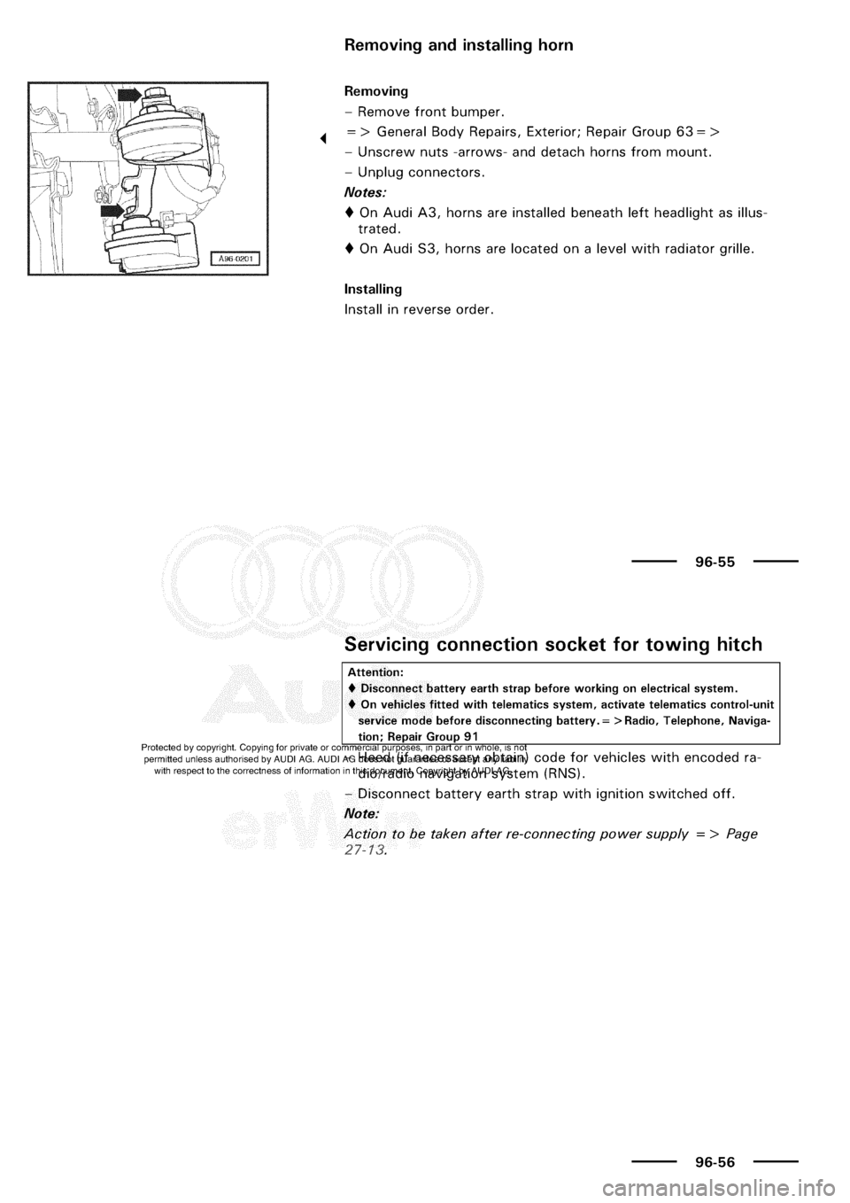 AUDI A3 2000 8L / 1.G Electrical System Workshop Manual