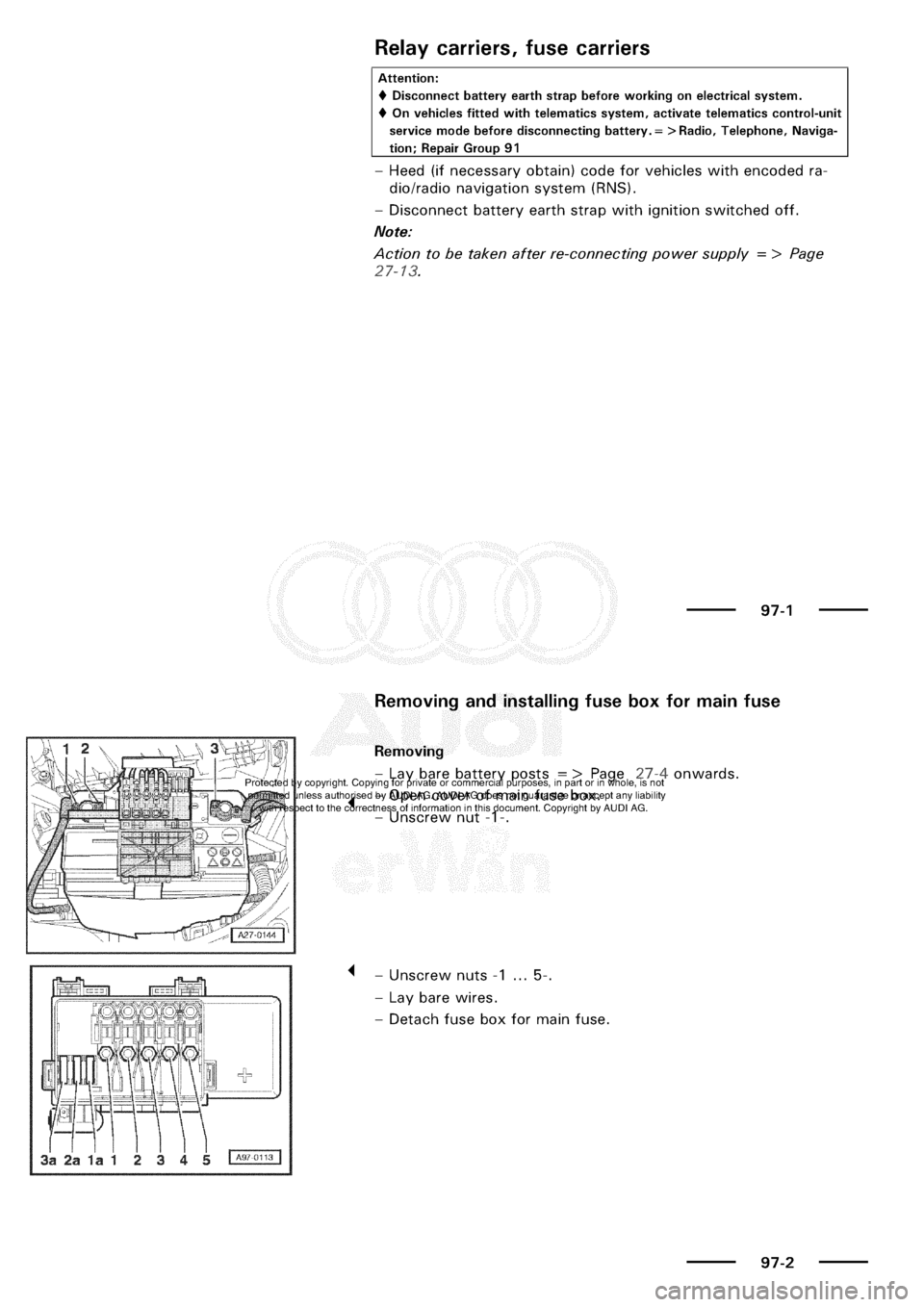AUDI A3 1999 8L / 1.G Electrical System Workshop Manual