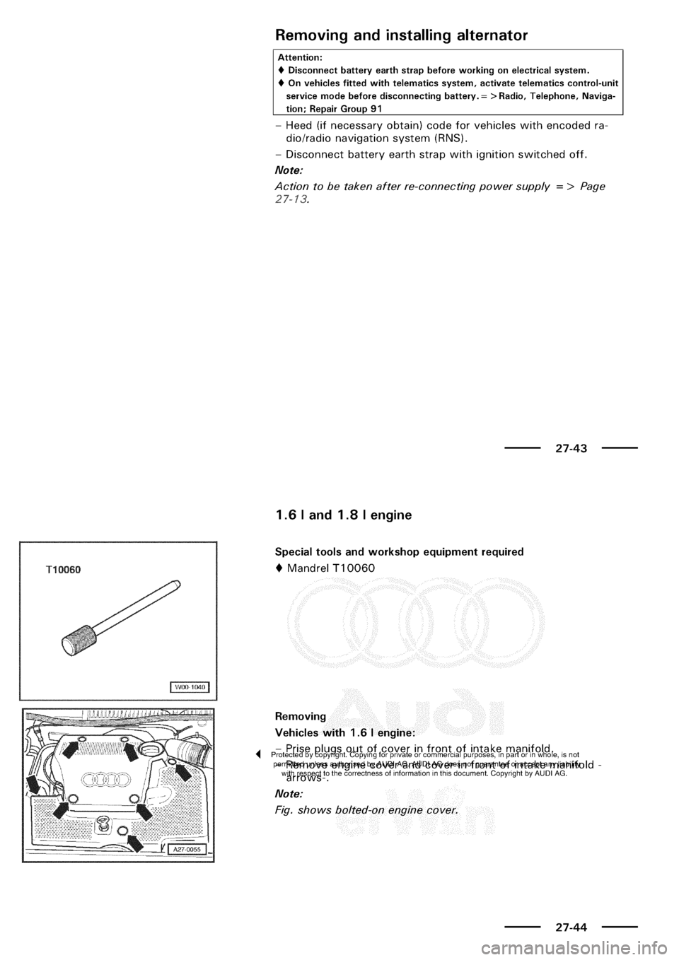 AUDI A3 2003 8L / 1.G Electrical System Owners Manual
