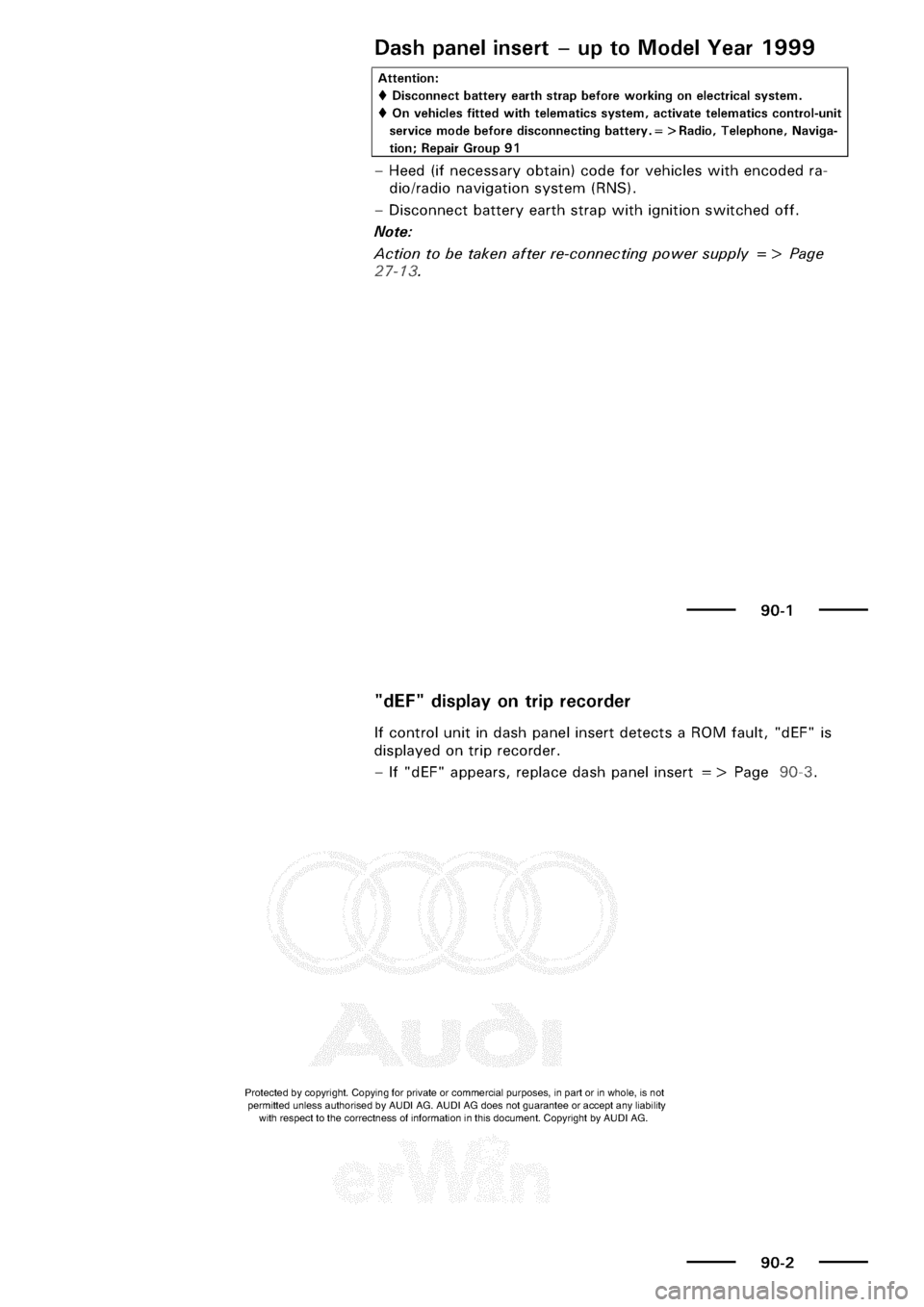 AUDI A3 2001 8L / 1.G Electrical System Repair Manual