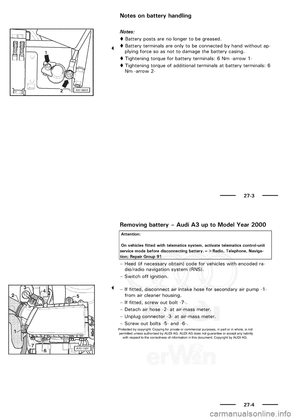 Audi A3 2001 8l 1 G Electrical System Workshop Manual
