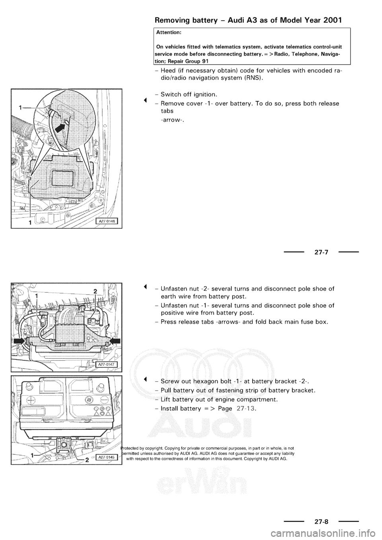Audi A3 1997 8l 1g Electrical System Workshop Manual 97 Fuse Box