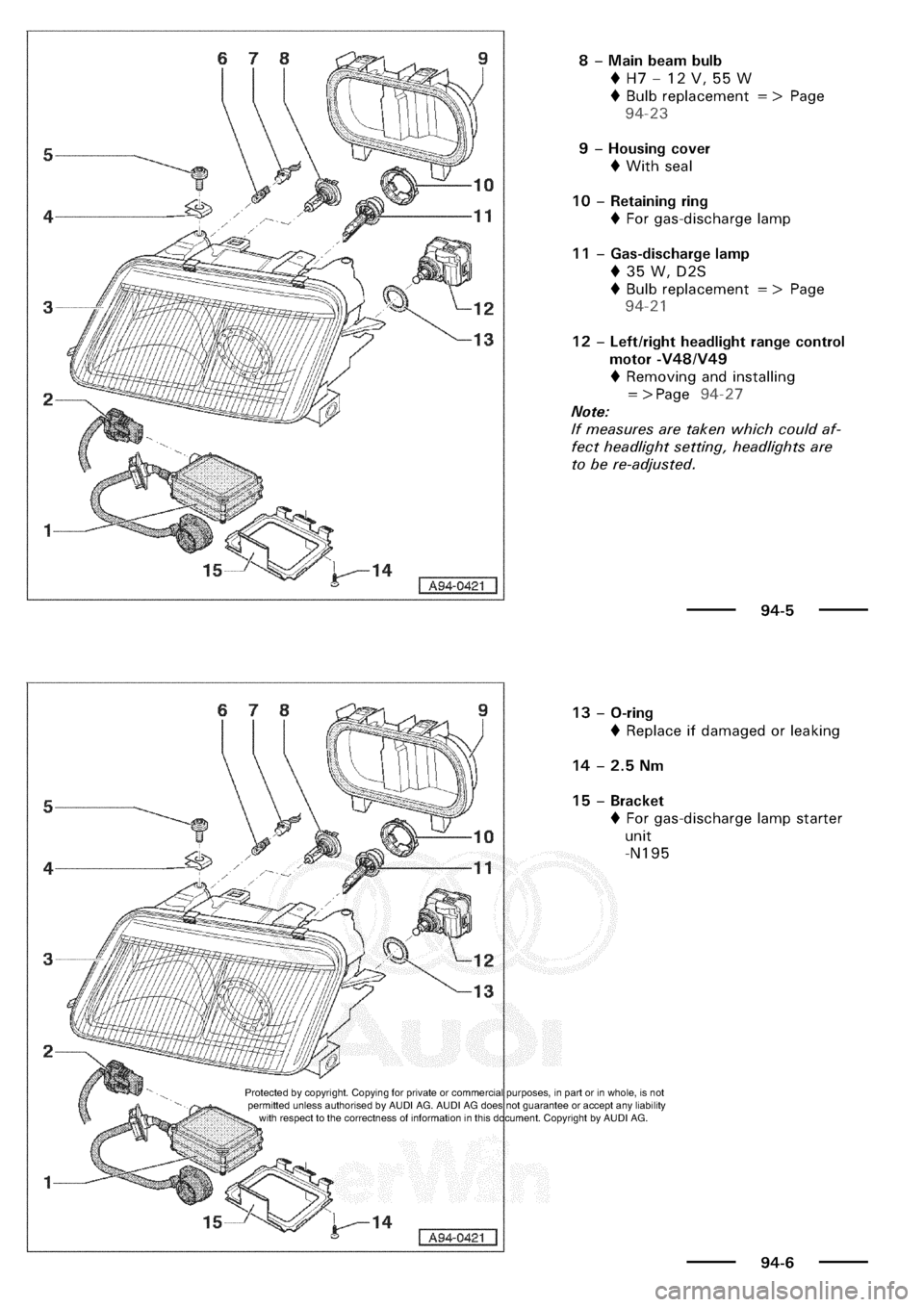 AUDI A3 2000 8L / 1.G Electrical System Owners Manual