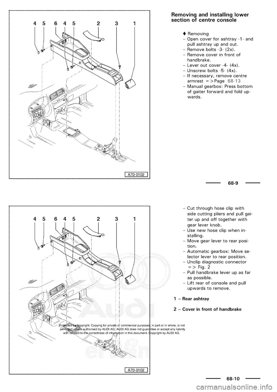 AUDI A3 2002 8L / 1.G General Body Assembly Interior User Guide