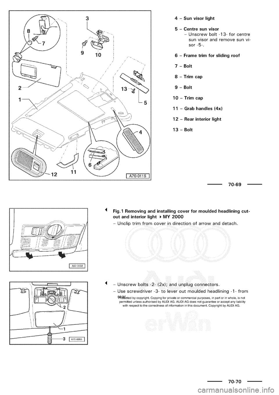 AUDI A3 1999 8L / 1.G General Body Assembly Interior Workshop Manual