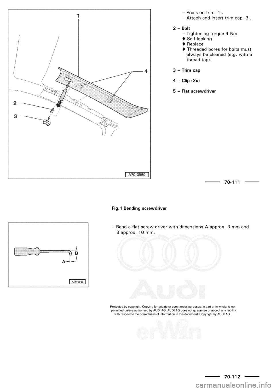 AUDI A3 1997 8L / 1.G General Body Assembly Interior Workshop Manual