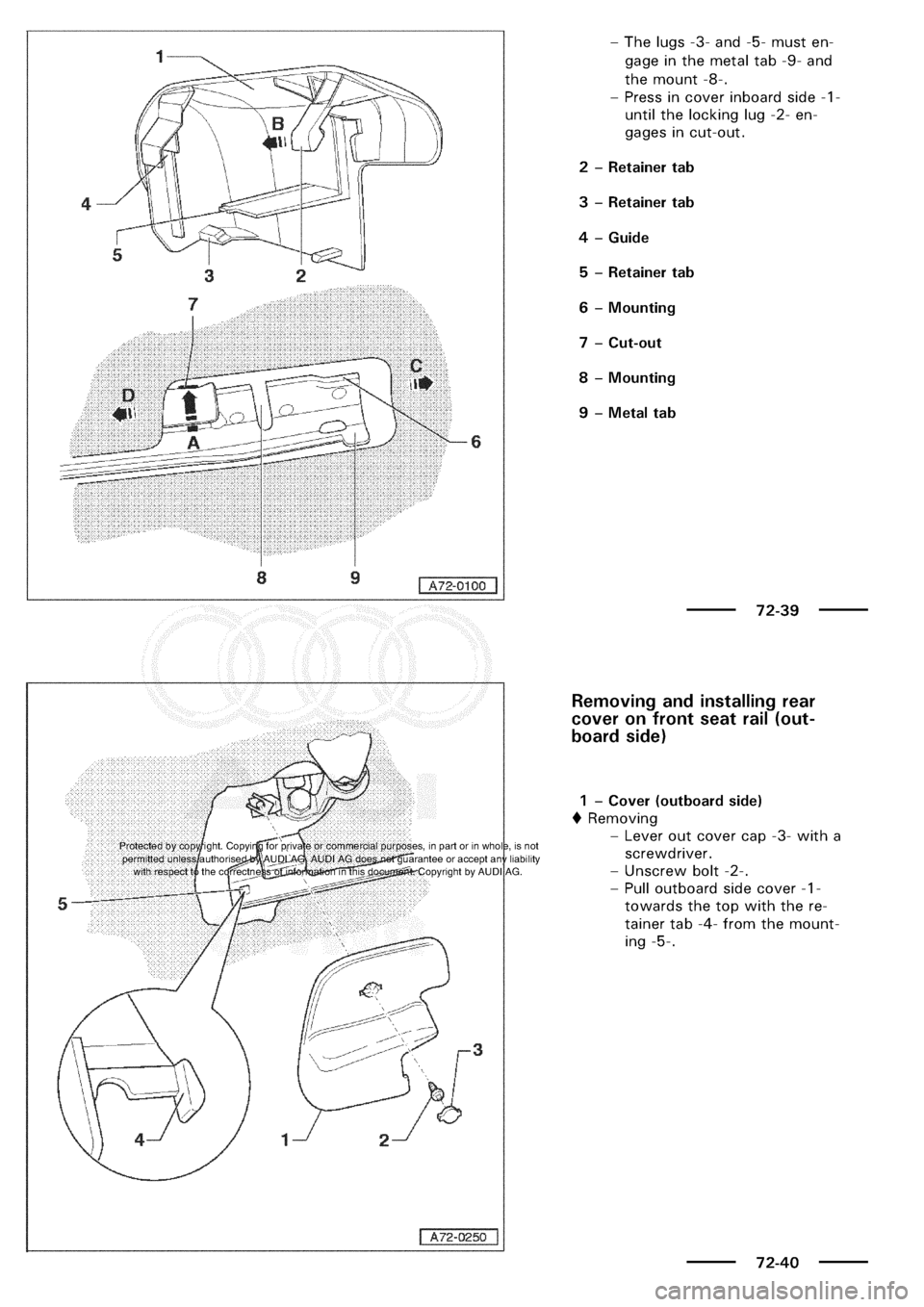 AUDI A3 2000 8L / 1.G General Body Assembly Interior Workshop Manual