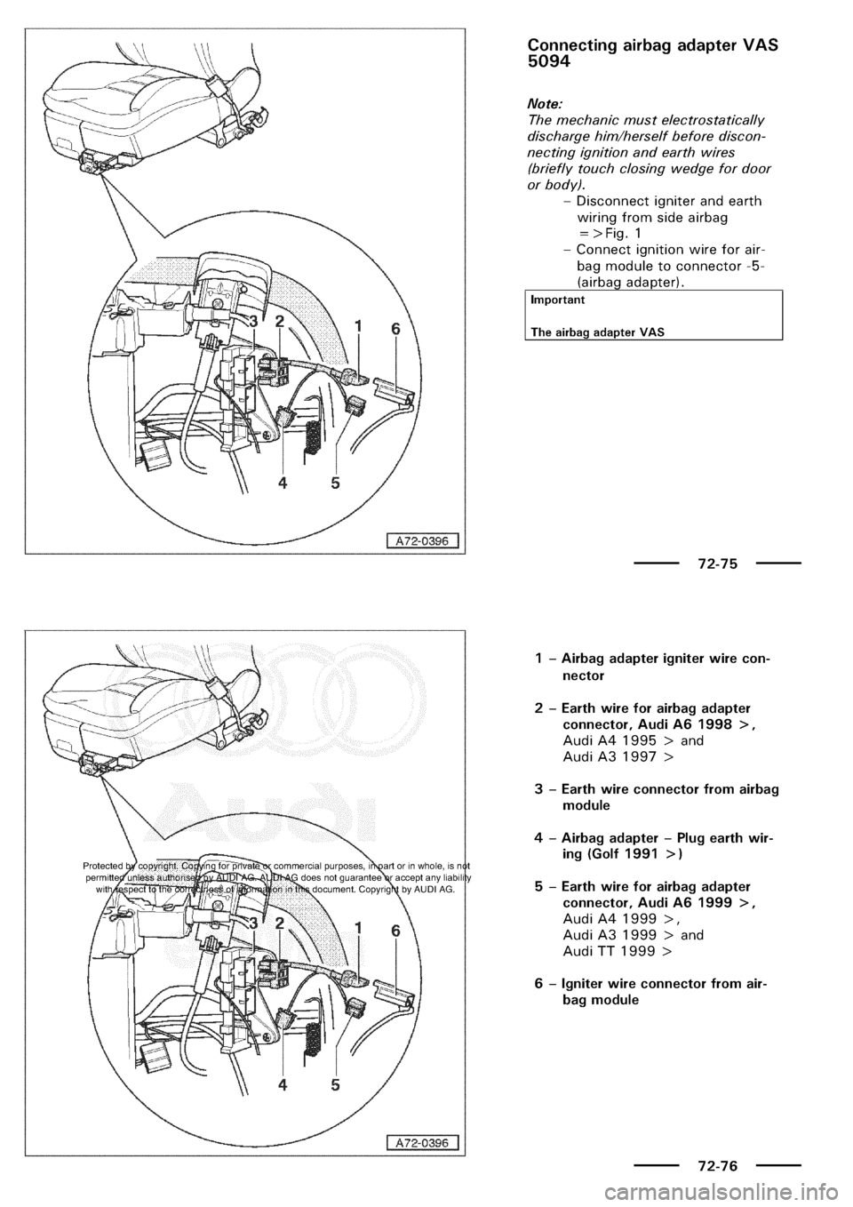 AUDI A3 1998 8L / 1.G General Body Assembly Interior Workshop Manual