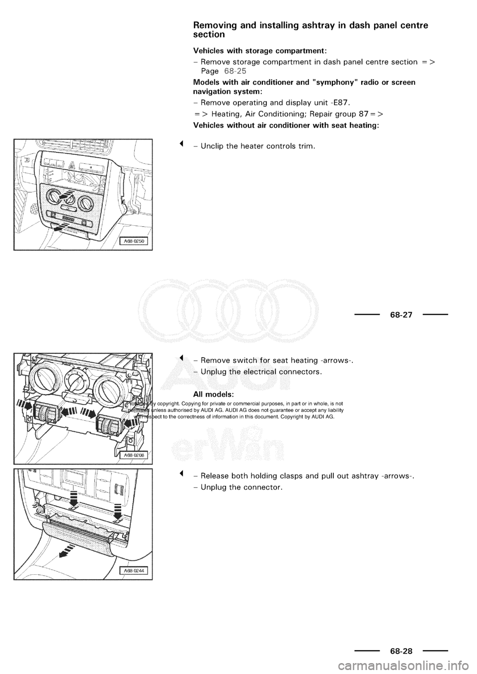 AUDI A3 1998 8L / 1.G General Body Assembly Interior Owners Manual