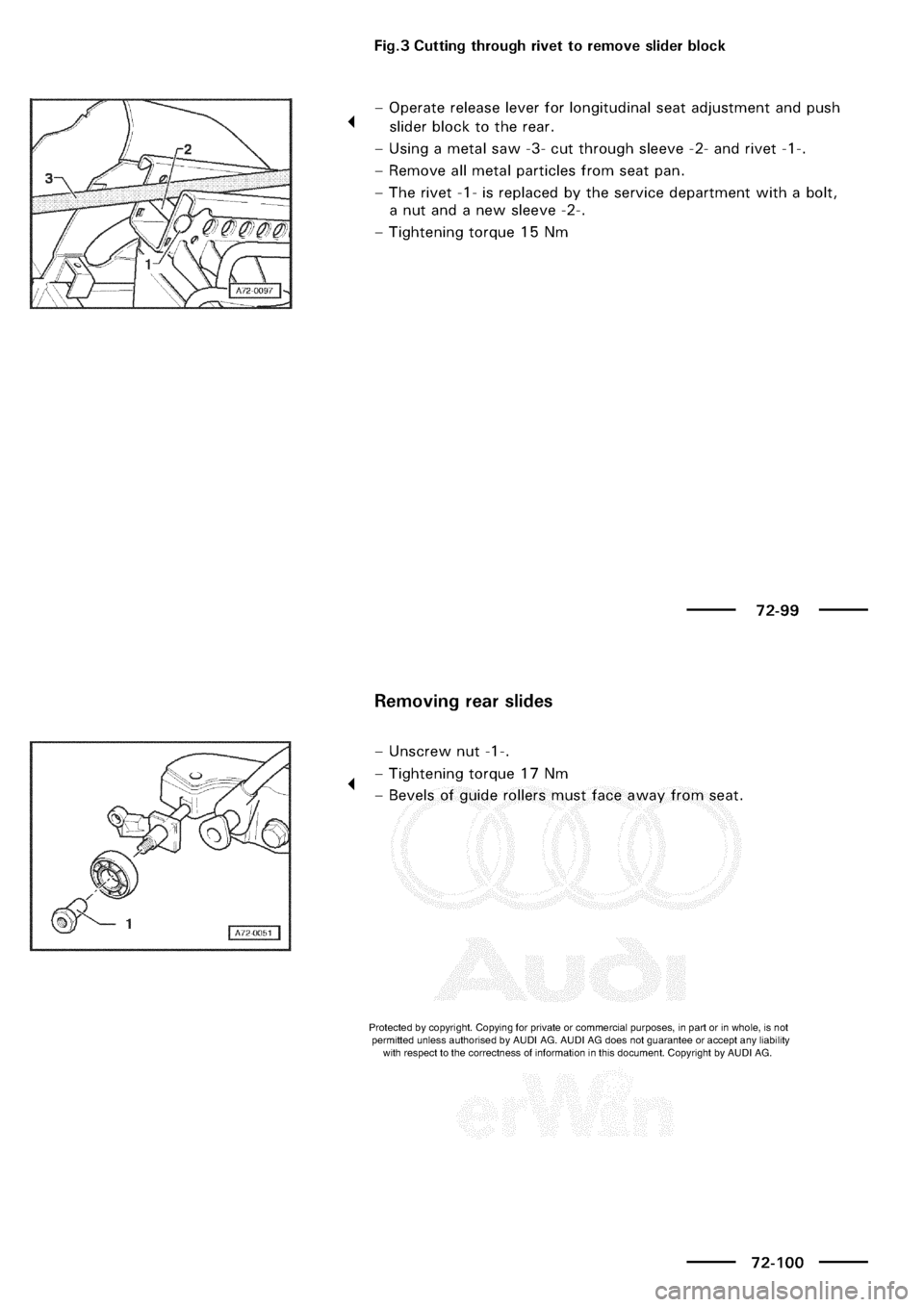 AUDI A3 2003 8L / 1.G General Body Assembly Interior Workshop Manual