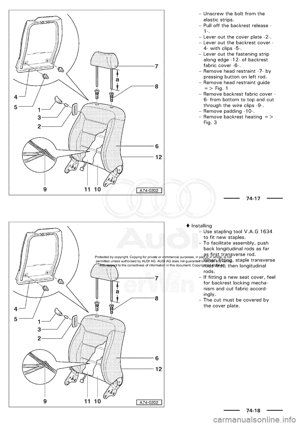 AUDI A3 2001 8L / 1.G General Body Assembly Interior Workshop Manual