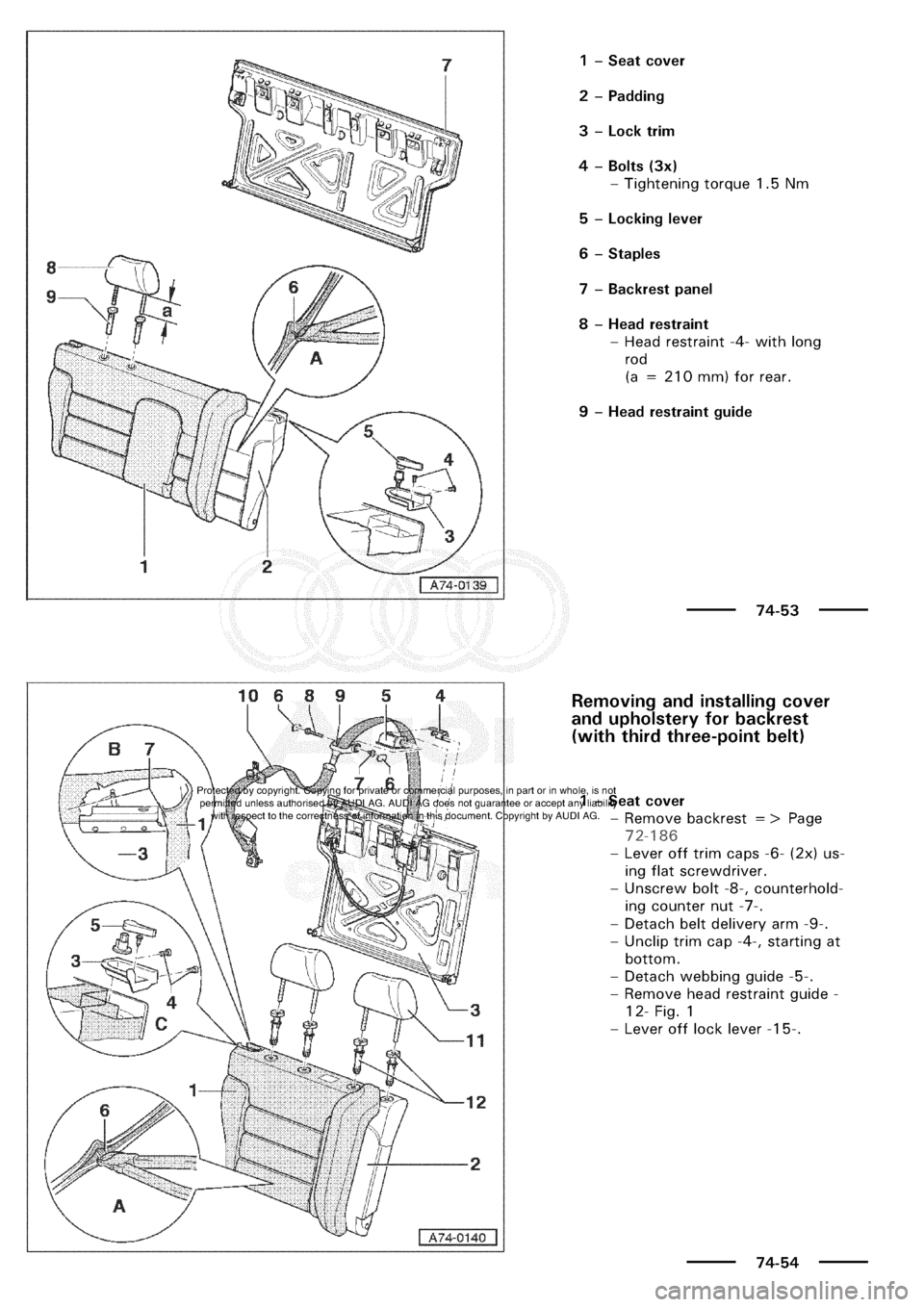 AUDI A3 2002 8L / 1.G General Body Assembly Interior Workshop Manual
