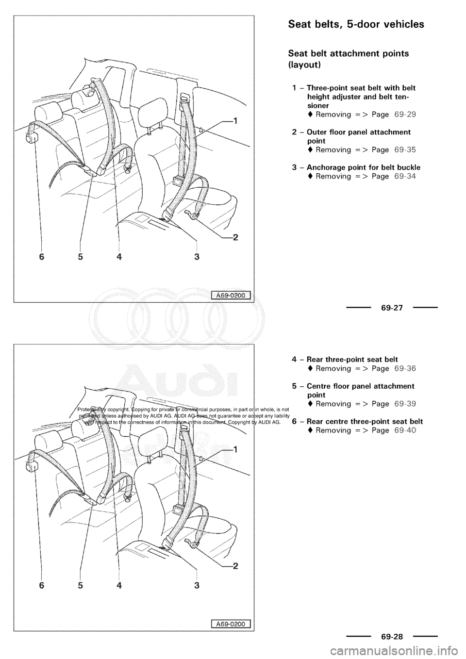 AUDI A3 2001 8L / 1.G General Body Assembly Interior Owners Guide