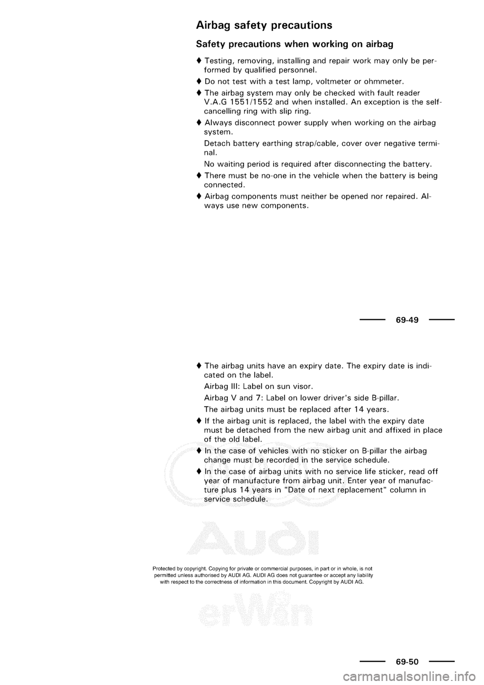 AUDI A3 2002 8L / 1.G General Body Assembly Interior Service Manual