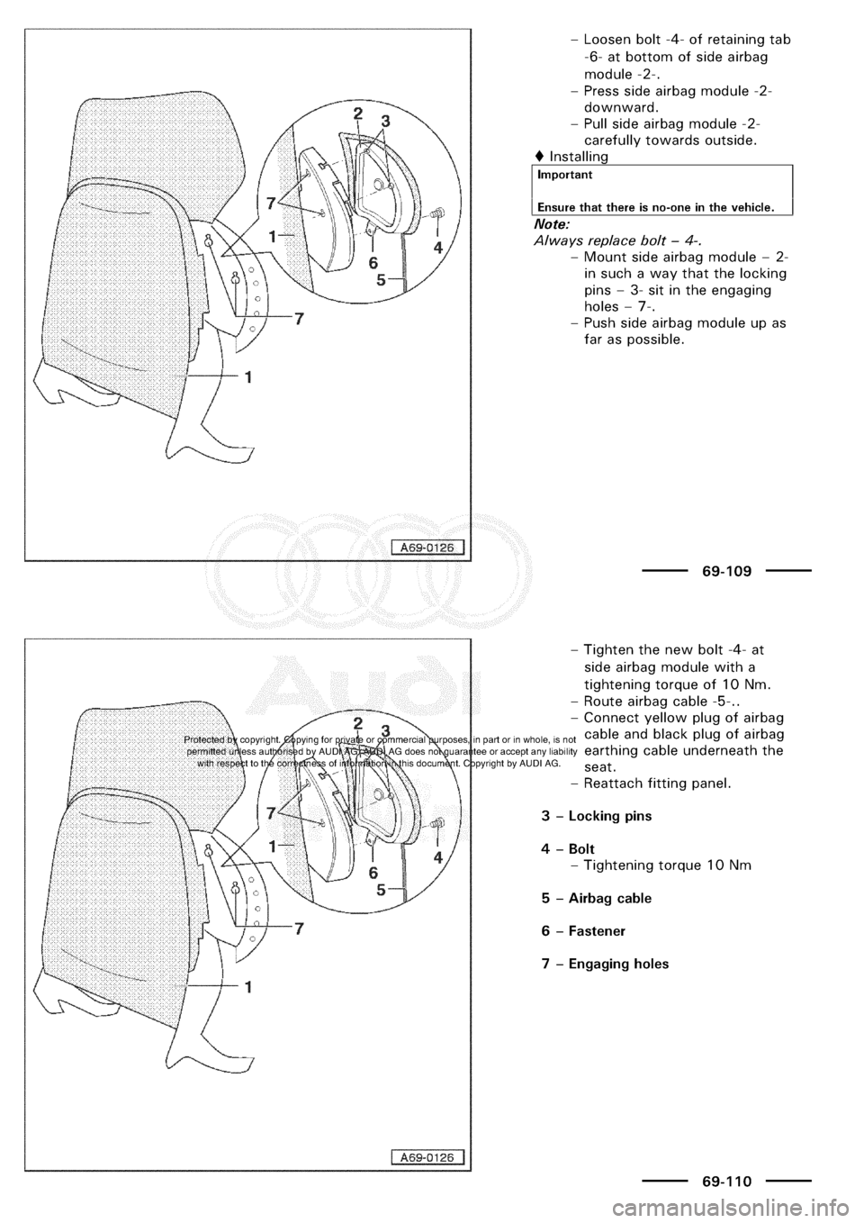AUDI A3 2002 8L / 1.G General Body Assembly Interior Manual PDF