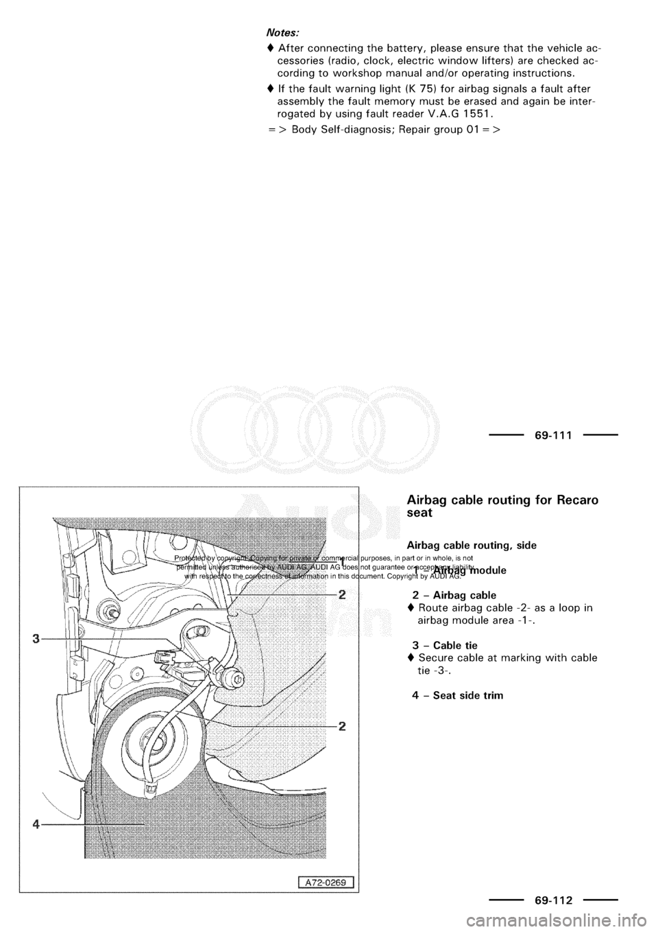 AUDI A3 2001 8L / 1.G General Body Assembly Interior Manual Online