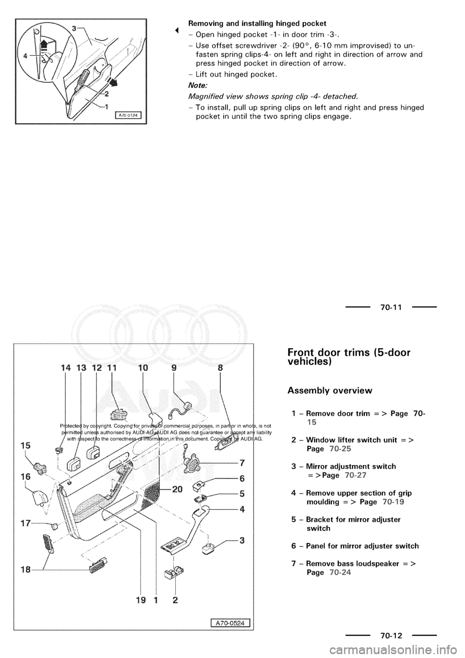 AUDI A3 2002 8L / 1.G General Body Assembly Interior Owners Manual