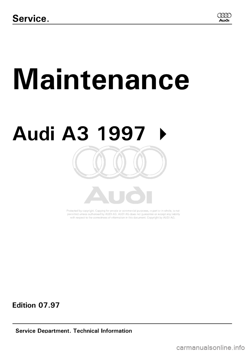 AUDI A3 2000 8L / 1.G Maintenance Workshop Manual