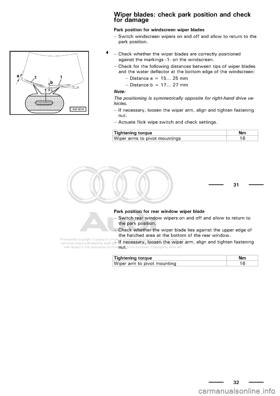 AUDI A3 2001 8L / 1.G Maintenance User Guide