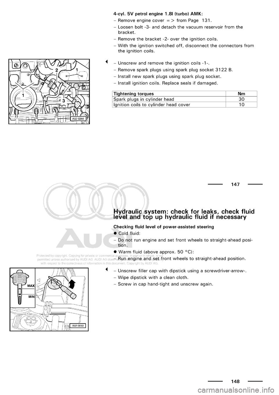 AUDI A3 1998 8L / 1.G Maintenance Manual PDF