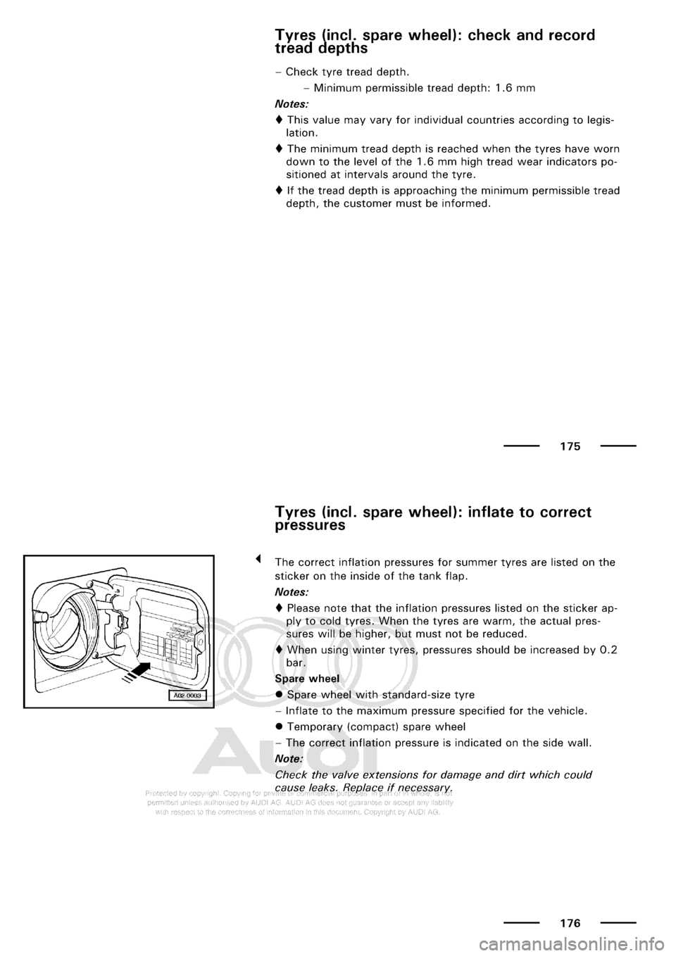 AUDI A3 2002 8L / 1.G Maintenance Owners Manual